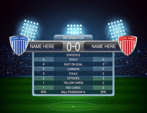 Stadio di calcio e tabellone segnapunti. illustrazione vettoriale