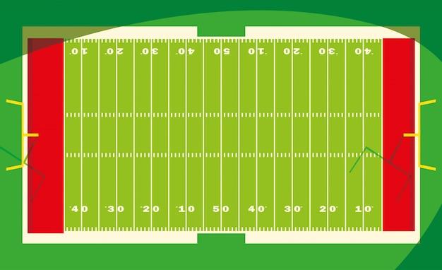 Stadio di football americano con luci, gioco di calcio americano