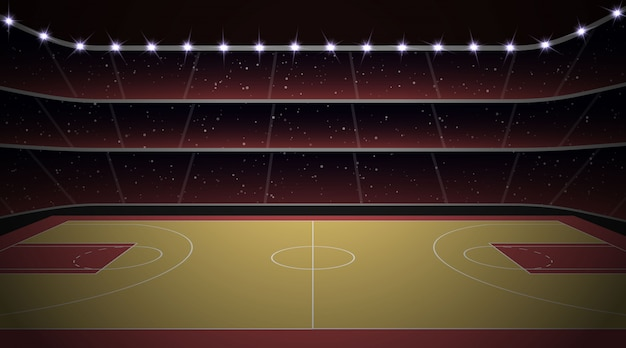 Stadio di pallacanestro con campo