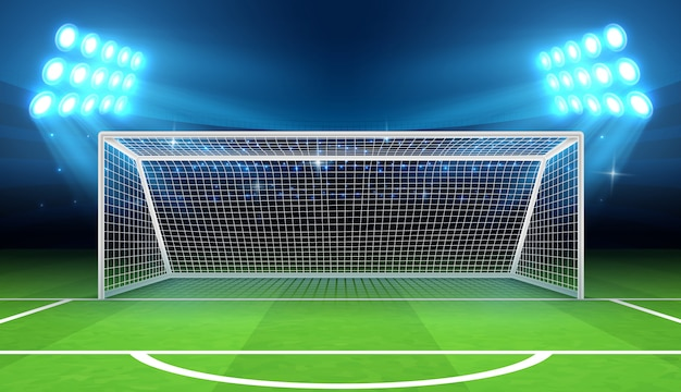 Stadio sportivo con illustrazione obiettivo di calcio