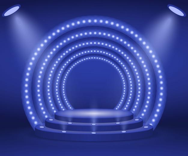 Stage con luci per la cerimonia di premiazione. podio rotondo illuminato. piedistallo.