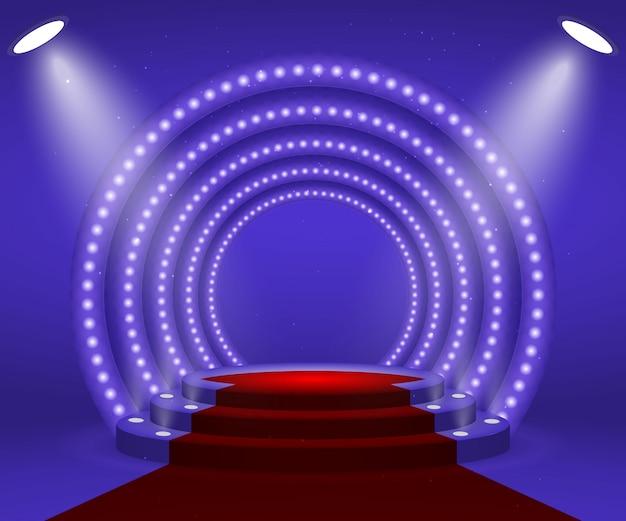 Stage con luci per la cerimonia di premiazione.