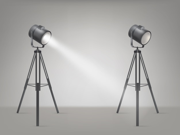 Stage o studio spotlight vettore realistico