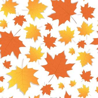 Stagione di caduta dell'ornamento delle foglie di acero di autumn seamless pattern yellow