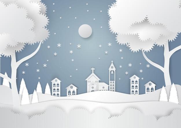 Stagione invernale con fiocco di neve e santa in città. illustrazione vettoriale di buon natale