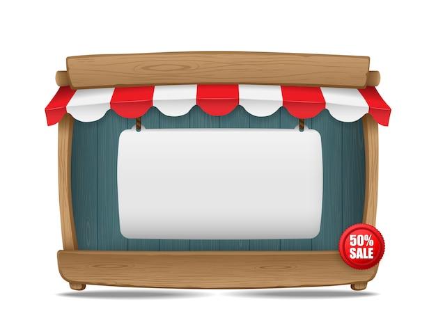 Stalla del mercato di legno con la tenda ed il bordo in bianco, illustrazione di vettore