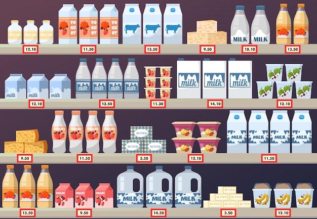 Stallo o stand con prodotti lattiero-caseari nel centro commerciale