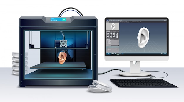 Stampa 3d dell'illustrazione realistica di vettore della composizione nell'orecchio umano