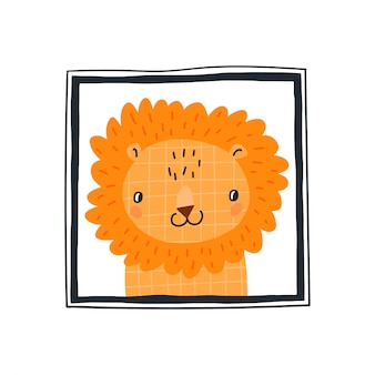 Stampa bambino con un simpatico leone nella cornice.