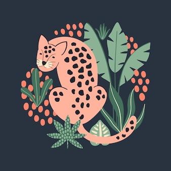 Stampa con leopardo rosa e foglie tropicali.