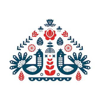 Stampa decorativa con pavone ed elementi floreali.