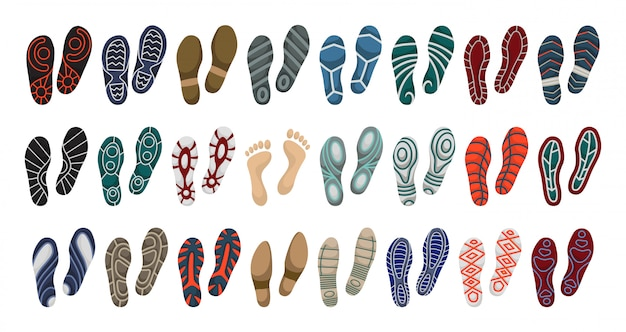 Stampa dell'icona stabilita del fumetto di vettore della scarpa stampa dell'illustrazione di vettore della scarpa della suola. piede isolato dell'orma dell'icona stabilita.