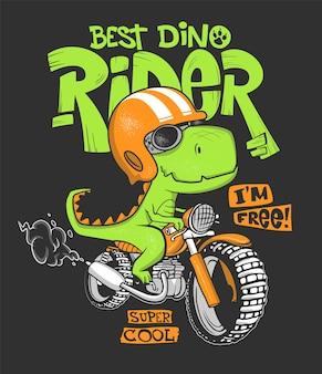 Stampa di dinosauro in sella a una moto.