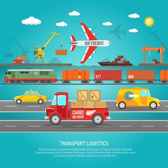 Stampa di poster di dettagli di trasporto di logistica piatta