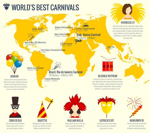 Stampa di poster infografica carnevale