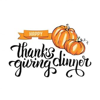 Stampa di tipografia cena del ringraziamento felice disegnata a mano