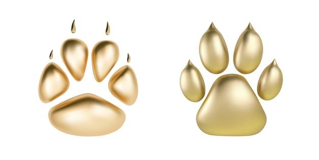 Stampa di zampa dorata di vettore del logotipo animale o icona isolato su priorità bassa bianca