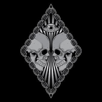 Stampa disegno della maglietta cranio testa