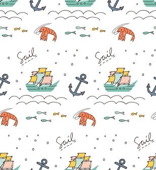 Stampa e modello con barca a vela, ancora, gamberetti ecc