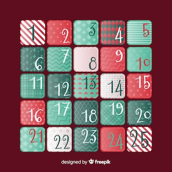 Stampa il calendario dell'avvento dei quadrati