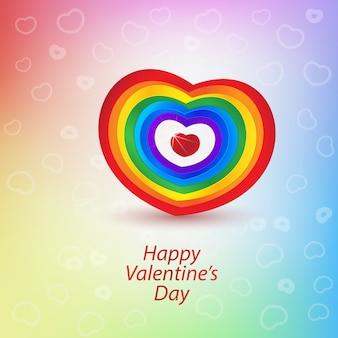 Stampa il cuore arcobaleno di san valentino