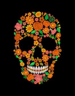 Stampa messicana del tessuto della toppa messicana di struttura del fiore arancio del cranio del ricamo