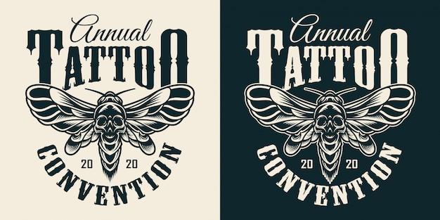 Stampa monocromatica vintage del salone di tatuaggi