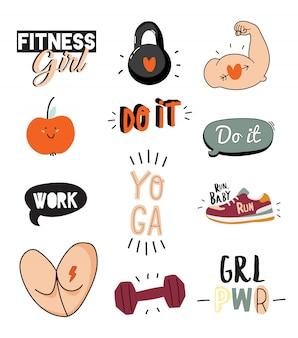 Stampa motivazionale con elementi sportivi e fitness realizzati in stile doodle, comprese citazioni alla moda e fantastici elementi stilizzati.