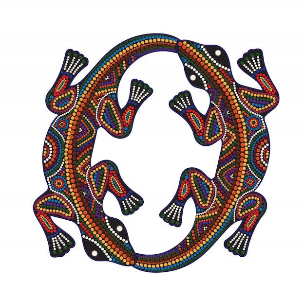 Stampa ornamento etnico africano tradizionale con due lucertole