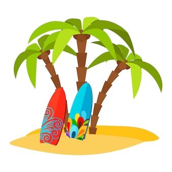 Stampa piana di vettore pacifico praticante il surfing della spiaggia