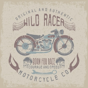 Stampa razziale vintage con moto, ali e teschi