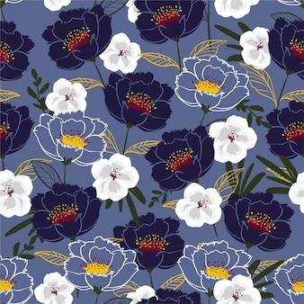 Stampa senza cuciture con fiori che sbocciano bianchi e viola. illustrazione disegnata a mano