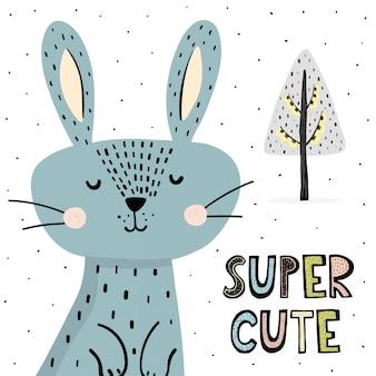 Stampa super carina con coniglietto divertente