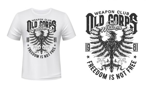 Stampa t-shirt con aquila araldica, club militare
