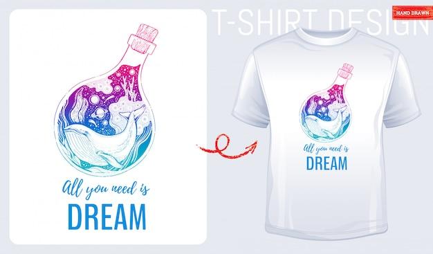 Stampa t-shirt con balena di mare