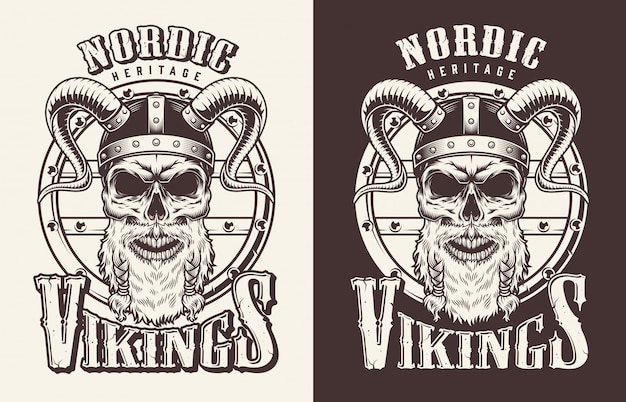 Stampa t-shirt con testa di vichingo