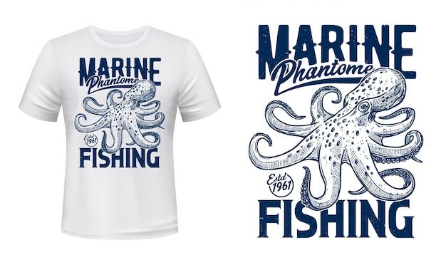 Stampa t-shirt, mazza da pesca marina, polpo oceanico
