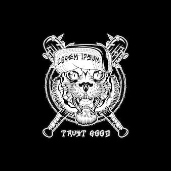 Stampa vintage di tigre vecchia scuola design