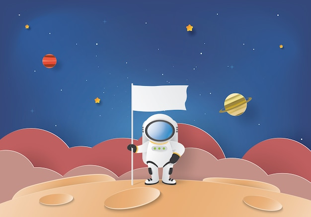 Stand astronauta sulla luna con una bandiera