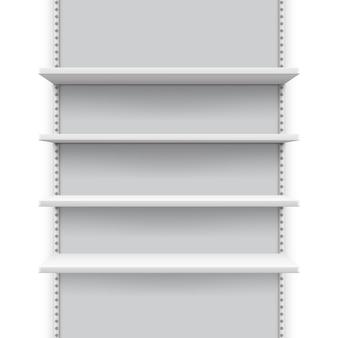 Stand di vendita al dettaglio vuoto con scaffali per prodotti, mockup display negozio
