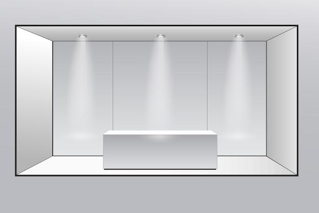 Stand espositivo 3d. angolo quadrato. quadrato geometrico vuoto bianco di vettore. modello di scatola vuota