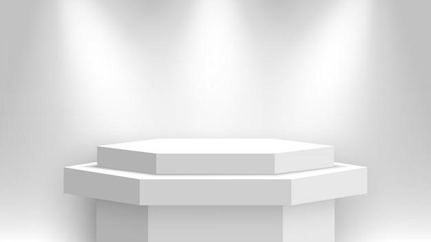 Stand espositivo bianco, illuminato da faretti. piedistallo. illustrazione.