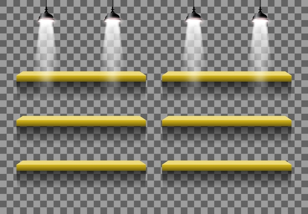 Stand interni vuoti effetto luce vettoriale camera
