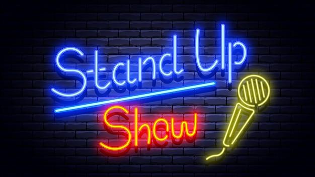 Stand up mostra insegna al neon sul muro di mattoni. illustrazione.