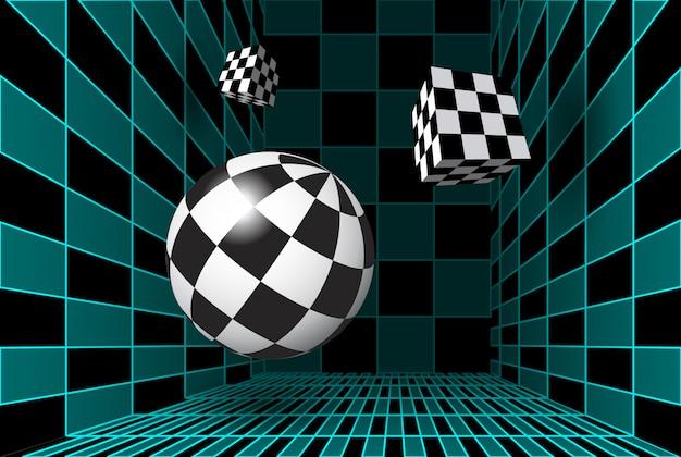 Stanza a scacchiera digitale con figure 3d