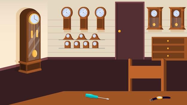 Stanza con l'illustrazione di vettore del fondo degli orologi