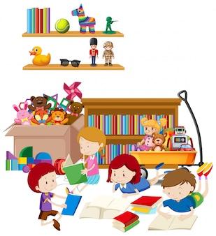 Stanza con molti libri di lettura dei bambini sull'illustrazione del pavimento