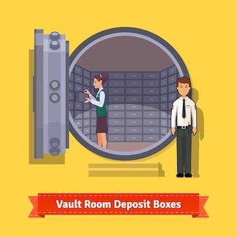 Stanza con porta blindata con cassetta di sicurezza