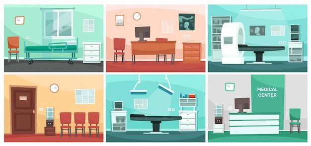 Stanza d'ospedale dei cartoni animati. gli interni medici, l'ufficio del medico e la clinica della chirurgia o gli ospedali svuotano l'illustrazione dell'interno della sala di attesa
