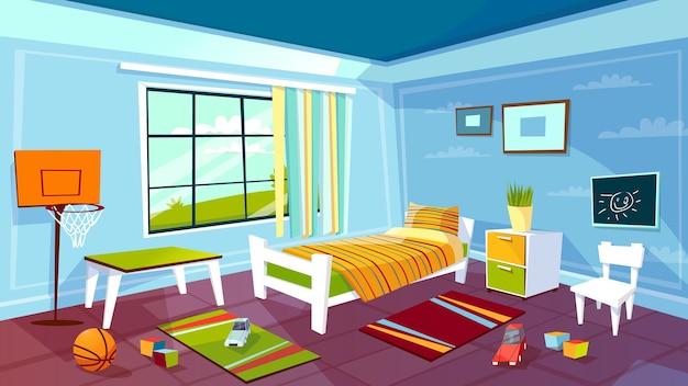 Stanza del bambino della priorità bassa interna della camera da letto del ragazzo del bambino.